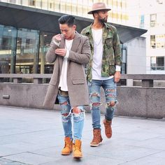"""7,642 Likes, 93 Comments - Jaii'C Tan (@jaii_c) on Instagram: """"Classique one with my bruh for life @stephanethakid  @champaris75  #champaris #champaris"""" Timberland Outfits, Moda Men, Swag Style, Dope Style, Men's Style, Men Looks, Mens Trends, Classic Man, Men Street"""