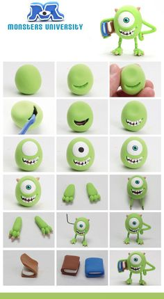 Fimo Fondant Monster Inc. Polymer Clay Charms, Polymer Clay Projects, Clay Crafts, Fimo Disney, Monster Inc Cakes, Crea Fimo, Fondant Animals, Fondant Tutorial, Art Tutorial
