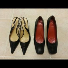EUC Two Pairs-Ann Klein/Rockport Designer Brands Two pairs of brand name shoes, sling back by Ann Klein sz 6.5 M and pump by Rickport sz 6M. Both black and rarely worn! Excellent used condition and clean. Anne Klein Shoes