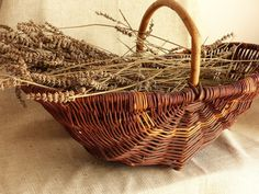 French Vintage Rustic Handmade Basket. French Farmhouse Kitchen Decorative Basket. Vegetable Basket. Flower Basket. Wedding Basket. by JadisInTimesPast on Etsy