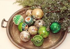 Green and Silver Christmas Ornaments / Shiny Brite / Disco Ball / Handpainted / Glitter
