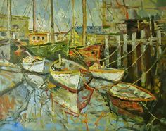 """""""Gloucester Dories,"""" Dennis Poirier, oil on board, 12 x 16"""", private collection."""
