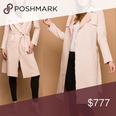 """'BLUSH PINK"""" SUEDE TRENCH JACKET Price Drop We are an online Boutique. ITEMS ARE BRAND NEW Pricing is firm.  Everyone needs a piece as chic as this lightweight vegan fauxsuede trench with raw edges! Its collared neckline with long lapels falls to an open front. Tie the suede sash belt into a knot to keep it closed. The back has all of your classic trench features like a storm flap and back vent and our favorite pockets!   Shell: 93% Polyester. 7% Spandex. modeled in an xs,   coats jackets…"""