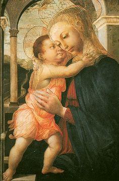Madonna della Loggia. Madonna de la Logia. Sandro Botticelli. 1467. Tempera on Panel. 72 X 50 cm. Uffizi Gallery. Florence.