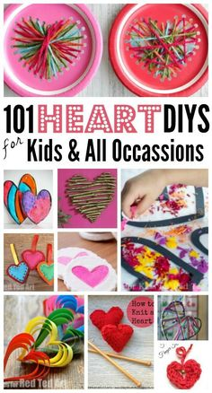 101 Easy Heart Crafts - if you are in need of a Heart Craft for Kids. Here is a super extensive list of fabulous Heart Crafts for Kids (with craft photos, for easy browsing). Love these heart crafts. They are perfect as Valentine& Crafts Valentine Crafts For Kids, Valentines Day Activities, Mothers Day Crafts, Easy Crafts For Kids, Valentines For Kids, Toddler Crafts, Diy For Kids, Holiday Crafts, Homemade Valentines