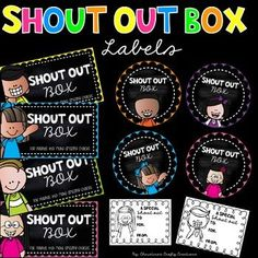 6 different rectangular shout out box labels6 different circle shout out labels6 different shout out slips for students to write a shout out on!