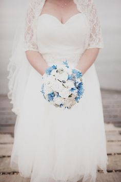 blue white wedding flowers bouquet, image by Paul Fuller Kent Photography http://www.paulfullerkentphotography.com/