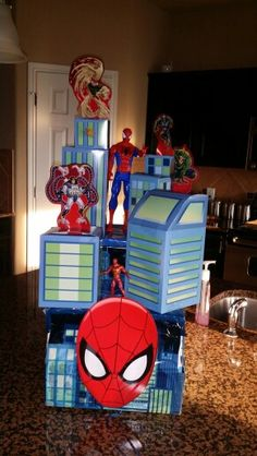 Spider Man Fiesta Float for school- used paper box, shoe box, Spider Man party table cloth, Spider Man bday party table topper and cheap spider man toys. Add string to pull.