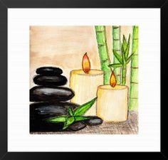 Watercolour wall art,Spa wall art,Stone Zen modern,relaxing wall art,candles print,bamboo wall art,zen art, gift,bathroom decor,zen decor by ArtAndPictures on Etsy