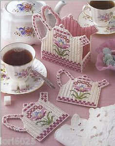 Free Plastic Canvas Coaster Patterns | Teapot Coaster Set 1 Annie's Pattern Only Plastic Canvas Pattern ...