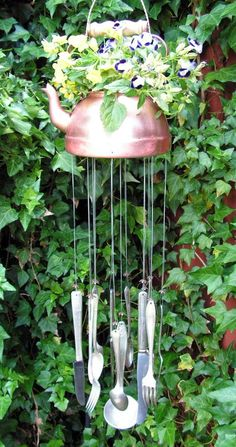 Vintage Copper Teakettle With Silver Windchimes, Garden Art