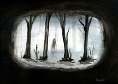 Watercolor Painting Ghost Forest Swamp Spooky by PainterPeeps, $30.00