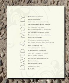 Wedding Gift for Parents from Bride and Groom by WordsWorkPrints