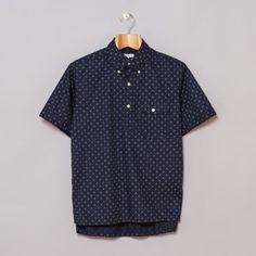 Engineered Garments Popover BD Shirt in Navy Diamond Foulard Print