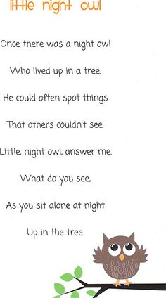 Little night owl poem for the letter O alphabet activities Preschool Poems, Kids Poems, Fall Preschool, Preschool Activities, Preschool Projects, Alphabet Activities, November Poem, October, Day For Night