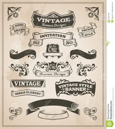 retro-vintage-banner-ribbon-set-vector-illustration-design-elements-textured-background-40461264.jpg (1155×1300)