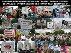 "The next time someone says ""We didn't protest Obama's election and inauguration!"", show them this collage of pictures showing the utter hatred toward him, and then ask them if they still feel we should unite around our ""dear leader"" Trump."