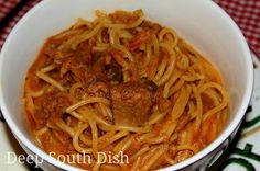 BBQ Sketti - a spaghetti made with leftover pulled BBQ pork, chicken or beef.