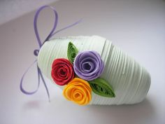 Green Easter Egg Ornament with Quilled Roses - Paper Quilling / 3d quilling / Easter decoration / Easter gift/ Home decor  Ask a Question $7.00 USD. BULGARIA
