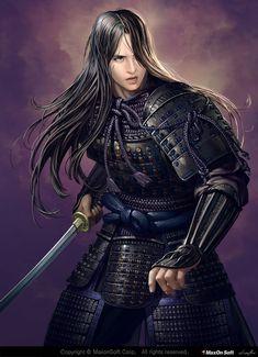 f Fighter Plate Armor Sword night ArtStation Japan armor Donfoo Ronin Samurai, Female Samurai, Samurai Art, Samurai Warrior, Character Portraits, Character Art, Fantasy Warrior, Fantasy Art, Fantasy Characters