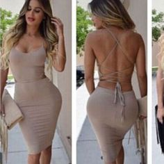 Cut Out Back Long Sleeve Women Party Bodycon Dress - Daily Fashion Dresses For Less, Tight Dresses, Sexy Dresses, Cute Dresses, Cute Outfits, Elegantes Outfit, Bodycon Dress Parties, Dress Party, Fashion Outfits