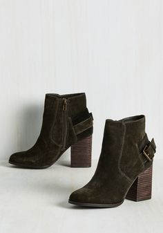 Pact Naturally Bootie. Your promise to only flaunt pieces that demonstrate your best self is apparent when these dark green booties star in your ensemble! #green #modcloth