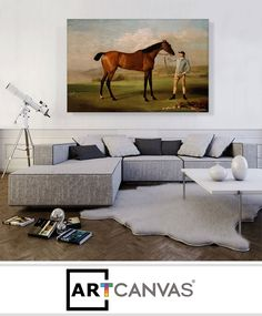 Ready-to-hang Mr Ogilvie's Bay Racehorse on a Riverbank with a Group of Cows Canvas Art Print for Sale canvas art print for sale.