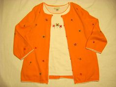 CHRISTOPHER BANKS XL Sweater Set Orange Pinwheels Twinset Twin Set Tank Cardigan