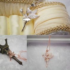 Fashion 18K White/ Rose Gold CZ Crystal Angel Fairy Magic Pendant Chain Necklace #Unbranded #FashionFriendship #PartyCocktail