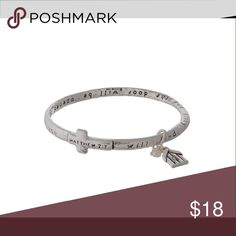 Inspirational Silver tone bracelet This beautiful bracelet is the perfect gift for the season. Features the following prayer: Ask it will be given to you. Seek and you will find, knock and the door will be opened for you. Matthew 7:7 (This closet does not trade or use PayPal ) Jewelry Bracelets