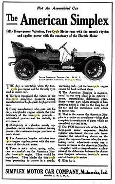 La marque automobile de voitures Américaine American Simplex fut fondée en 1906, cette firme exploita la construction automobile jusqu'en 1910.