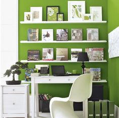 Love this colour in my office; accented with dark shelving though
