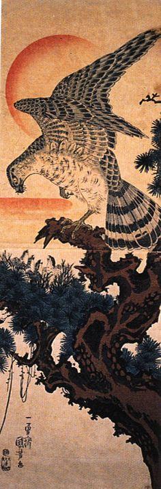 Utagawa Kuniyoshi: A hawk in an old pine tree (c.1845) Kakemono-e
