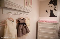 Pink and gold Paris-themed nursery - love the adorable dresses displayed! #nursery