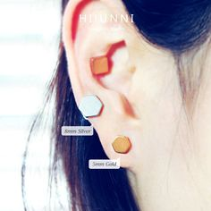 16g Cartilage Earring Solid Hexagon Ear Fake Plug ear by HiUnni