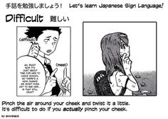 Sign: Difficult 難しい Japanese Sign Language, British Sign Language, Koe No Katachi Anime, A Silent Voice, Signs, Learning, Memes, Languages, Packing