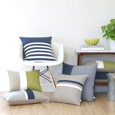 Chambray Striped Pillow - Navy. AS SEEN in Good Housekeeping Magazine - Emily's Style at Home - Oct 2015. Colorblock stripes in gray chambray, off white, navy and natural linen gives this pillow cover