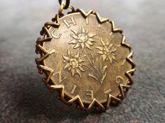 Edelweiss. Charm to Bracelet of Facet Cut Glass Beads Austria Original Coin