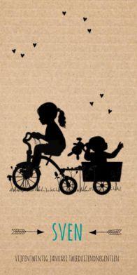 Geboortekaartje silhouette kraft driewieler met jongen