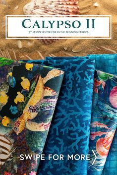 Calypso II by Jason Yenter for In The Beginning Fabrics is a beautiful digitally printed ocean-themed fabric collection with beautiful colors and fun designs. Shop the available FQ Sets, yardage, and panels at www.shabbyfabrics.com!