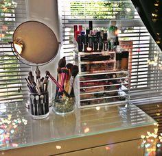 Vanity ; makeup vanity ; makeup storage ; muji drawers ; ikea malm & Alex drawers ; acrylic makeup storage ; lipstick holder ; gl vanity