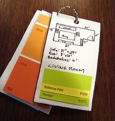 pocket sized floor plans + paint swatches = great idea!