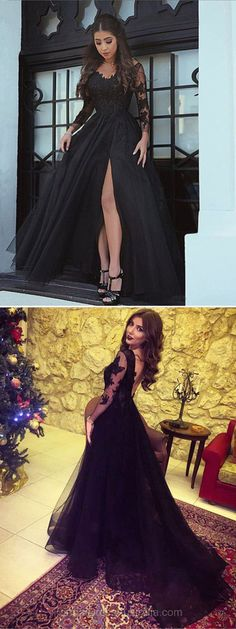 Long Formal Dresses Black, A-line Formal Dress Lace, V-neck Evening Dresses, Train Party Dresses