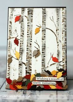 handmade card: Autumn Leaves using Woodland Embossing Folder for Global Design Project #GDP006 - with Michelle Last ... luv how she piled up the brightly colored punched leaves and the bottom of the trees ... Stampin' Up!