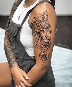 Super fun lion piece for Darcey. Design was inspired by my talented friend . Feminine Tattoo Sleeves, Feminine Tattoos, Girly Tattoos, Dope Tattoos, Leg Tattoos, Body Art Tattoos, Arabic Tattoos, Tatoos, Girl Neck Tattoos