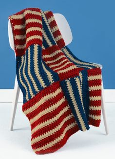 Free USA Afghan pattern. (You just have to join Lion Brand with a free account to access pattern)