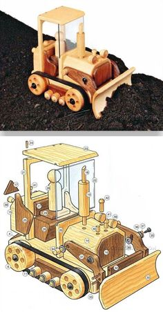 Wooden Toy Bulldozer Plans - Wooden Toy Plans and Projects - Woodwork, Woodworking, Woodworking Plans, Woodworking Projects Woodworking Shop Layout, Small Woodworking Projects, Woodworking Workshop, Wood Projects, Wooden Toy Trucks, Wooden Car, Making Wooden Toys, Wooden Wheel, Plan Toys