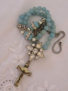 vintage repurposed assemblage jewelry necklace rosary crucifix rhinestone amazonite atelier paris