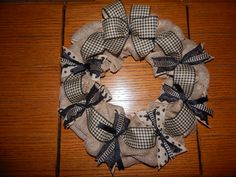 Burlap wreath with different sizes of burlap ribbons