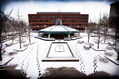 Snow on the Powell Plaza. Eastern Kentucky University. Richmond Kentucky
